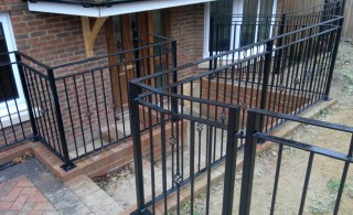 Black iron balustrade for a house in Walsall