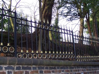 Black and gold iron railings in Kings Heath